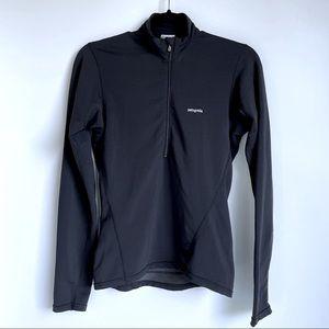 Patagonia Half Zip Long Sleeve Base Layer Shirt in Black
